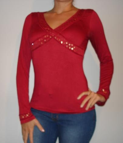NWT SANJOY red beaded gold star long slv shirt sz L
