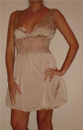 NWT KAIDAL tan nude lace satiny empire tank dress sz M, L