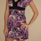 NEW SUA purple pink black short slv empire dress sz S