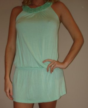 NWT FOREVER 21 light green beaded boho mini dress sz S, M