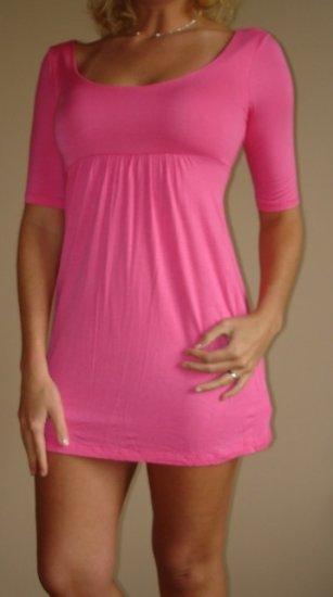 NWT FOREVER 21 hot pink empire waist dress sz S