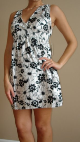 NWT DEREK HEART black white satiny floral tank dress S, M