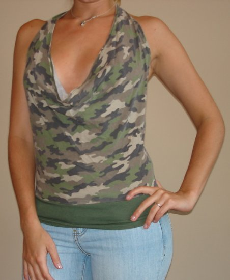 NWT WET SEAL camou camouflage slouch halter top sz M