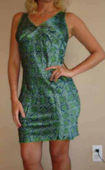 NEW GLAM green blue stretch knee length dress sz S, M, L