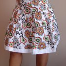 NWT FOREVER 21 white orange floral knee skirt XS 2 3, S 4 5, M 6 7