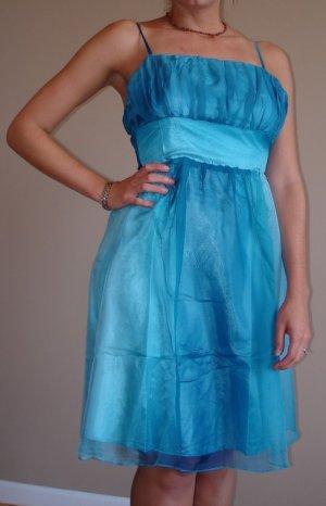 NWT GRIFFLIN teal aqua gauzey gradation dress S M L