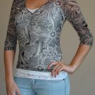 NEW THE LIMITED brown paisley sheer sparkle shirt sz S