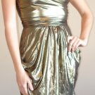 NEW BAILEY BLUE gold metallic strappy v-neck dress S M