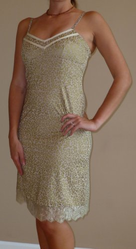 NWT PEPPE PELUSO gold tan animal lace dress sz S M L