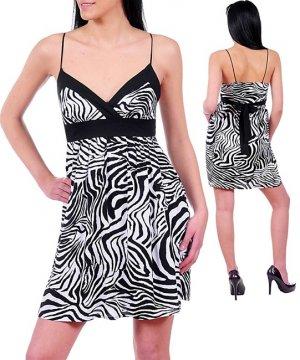 NEW POEMA black white zebra strappy empire dress S M L