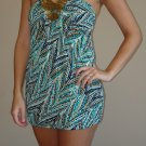 NEW STUDIO Y teal black gold bead halter dress S M L