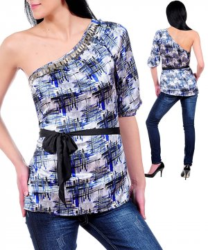 NWT CAPRI blue silver satiny beaded one slv shirt S M L