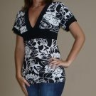 NEW NICE WEAR black white empire v-neck shirt sz S M L
