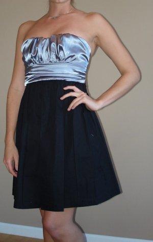 NEW VOXX black silver strapless mini party dress sz M