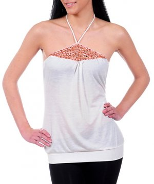 NEW JANE K white peach rhinestone halter top sz S M L