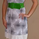 NWT MKM black white polka dot green belt dress S M L