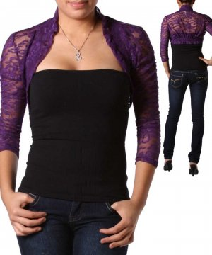 NEW COLOR STORY purple LACEY sheer shrug bolero 3/4 sleeve top sz S M