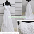 Double Straps White Chiffon Ruffled Applique Beaded Wedding Dress S1