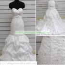 Mermaid Strapless White Taffeta Ruffled Applique Beaded Wedding Dress Bridal Gown S5