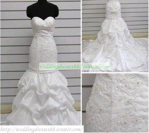 Mermaid Strapless White Taffeta Ruffled Applique Beaded Wedding Dress Bridal Gown S5