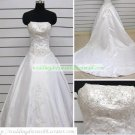 A-line Strapless  White Organza Applique Beaded Cathedral Train Wedding Dress Bridal Gown S7
