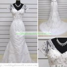 Mermaid Short Sleeves White Soft Tulle Applique Beaded Wedding Dress Bridal Gown S8