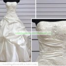 A-line Strapless  White Taffeta Applique Beaded Chapel Train Wedding Dress Bridal Gown S9