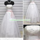 2012 A-line Strapless  White Organza Beaded Floor-length Wedding Dress Bridal Gown S10