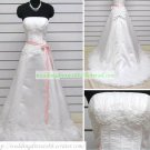 A-line Strapless White Organza Ruffled Applique Beaded Chapel Train Wedding Dress Bridal Gown S12