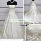 A-line Strapless White Taffeta Ruffled Applique Beaded Chapel Train Wedding Dress Bridal Gown S15