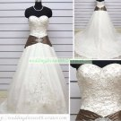 A-line Strapless White Satin Organza Embroider Beaded Chapel Train Wedding Dress Bridal Gown S17