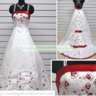 A-line Double Straps  White Satin Embroider Red Flower Chapel Train Wedding Dress Bridal Gown S18
