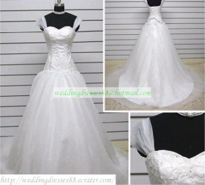 Double Straps White Organza  Ruffled Applique Beaded Chapel Train Wedding Dress Bridal Gown S22