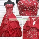 Strapless Red Taffeta Ruffled Beaded Chapel Train Wedding Dress Bridal Gown S23
