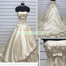 Strapless Ivory Taffeta Ruffled Applique Beaded Chapel Train Wedding Dress Bridal Gown S25
