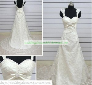 Hot Sale Double Straps White Lace Beaded Chapel Train Wedding Dress Bridal Gown S27