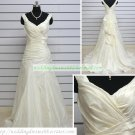 Hot Sale Double Straps White Taffeta Ruffled Chapel Train Wedding Dress Bridal Gown S29