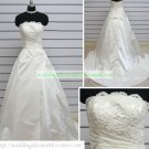 Hot Sale Strapless White Taffeta Ruffled Applique Beaded Chapel Train Wedding Dress Bridal Gown S30
