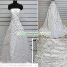 Strapless White Taffeta Organza Ruffled Applique Beaded Chapel Train Wedding Dress Bridal Gown S33