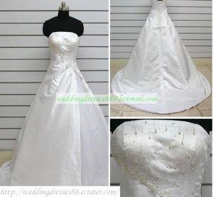 Hot Sale Strapless White Taffeta Ruffled Beaded Chapel Train Wedding Dress Bridal Gown S34