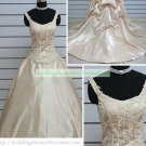 Double Straps Champagne Taffeta Ruffled Applique Beaded Chapel Train Wedding Dress Bridal Gown S35