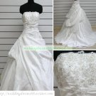 A-line Strapless White Taffeta Ruffled Applique Beaded Chapel Train Wedding Dress Bridal Gown S37