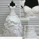 A-line Cap Sleeves White Taffeta Ruffled Applique Beaded Chapel Train Wedding Dress Bridal Gown S38