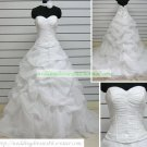 A-line Strapless White Organza Ruffled Applique Beaded Chapel Train Wedding Dress Bridal Gown S39