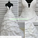 A-line Strapless White Taffeta Ruffled Beaded Chapel Train Wedding Dress Bridal Gown S40
