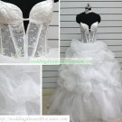 A-line Strapless White Organza Ruffled Lace Beaded Floorf-length Wedding Dress Bridal Gown S41