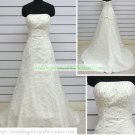 Hot Sale A-line Strapless White Lace Beaded Wedding Dress Bridal Gown S42