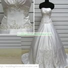 Free Shipping Hot Sale A-line Strapless White Satin Embroider Beaded Wedding Dress Bridal Gown S46