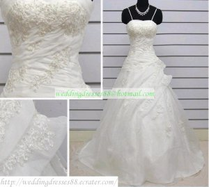 Free Shipping Double Spaghetti  White Organza Applique Beaded Wedding Dress Bridal Gown S49