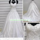 Free Shipping Hot Sale Halter  White Satin Applique Beaded Wedding Dress Bridal Gown S50